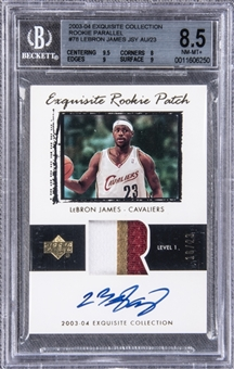 "2003-04 UD ""Exquisite Collection"" Patch Parallel #78 LeBron James Signed Rookie Card (#16/23) – ""Rookie Patch Parallel"" (RPP) – BGS NM-MT+ 8.5/BGS 10"