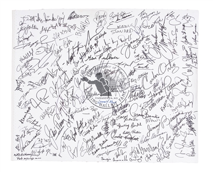 "Boxing Hall of Famers Multi-Signed 21x26"" Canvas with 120+ Signatures Including Mike Tyson, Sylvester Stallone, George Foreman, Roberto Duran, Marvin Hagler, Floyd Patterson and Leroy Neiman (JSA)"
