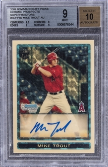 2009 Bowman Chrome Draft Prospects #BDPP89 Mike Trout (Superfractors) Signed Rookie Card (#1/1) – BGS MINT 9/BGS 10