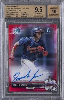2017 Bowman Chrome Prospects (Red Refractors) #CPARA Ronald Acuna Signed Rookie Card (#5/5) – BGS GEM MINT 9.5/ BGS 10
