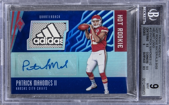 "2017 Panini Phoenix ""Hot Rookie Materials"" #HRS-PM Patrick Mahomes Adidas Helmet Logo Signed Rookie Card (#1/2) – BGS MINT 9/BGS 10"