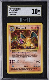 "1999 Pokemon Base 1st Edition #4 Charizard, Holographic, MBA Black Diamond Certified – SGC GOLD LABEL PRISTINE 10 ""1 of 1!"""