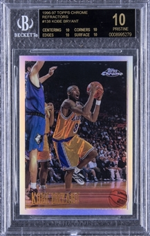 1996-97 Topps Chrome Refractors #138 Kobe Bryant Rookie Card – BGS PRISTINE/Black Label 10 – One of Just Two Examples in the World at Its Level of Perfection!
