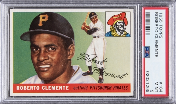 1955 Topps #164 Roberto Clemente Rookie Card – PSA MINT 9